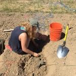Katie Pardee places soil columns